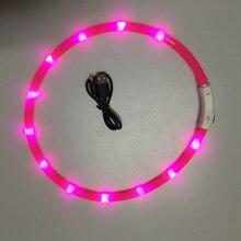Перезаряжаемый через USB светящийся ошейник, безопасный светодиодный ошейник для собак, Регулируемый силиконовый ошейник, разрезанный для б...