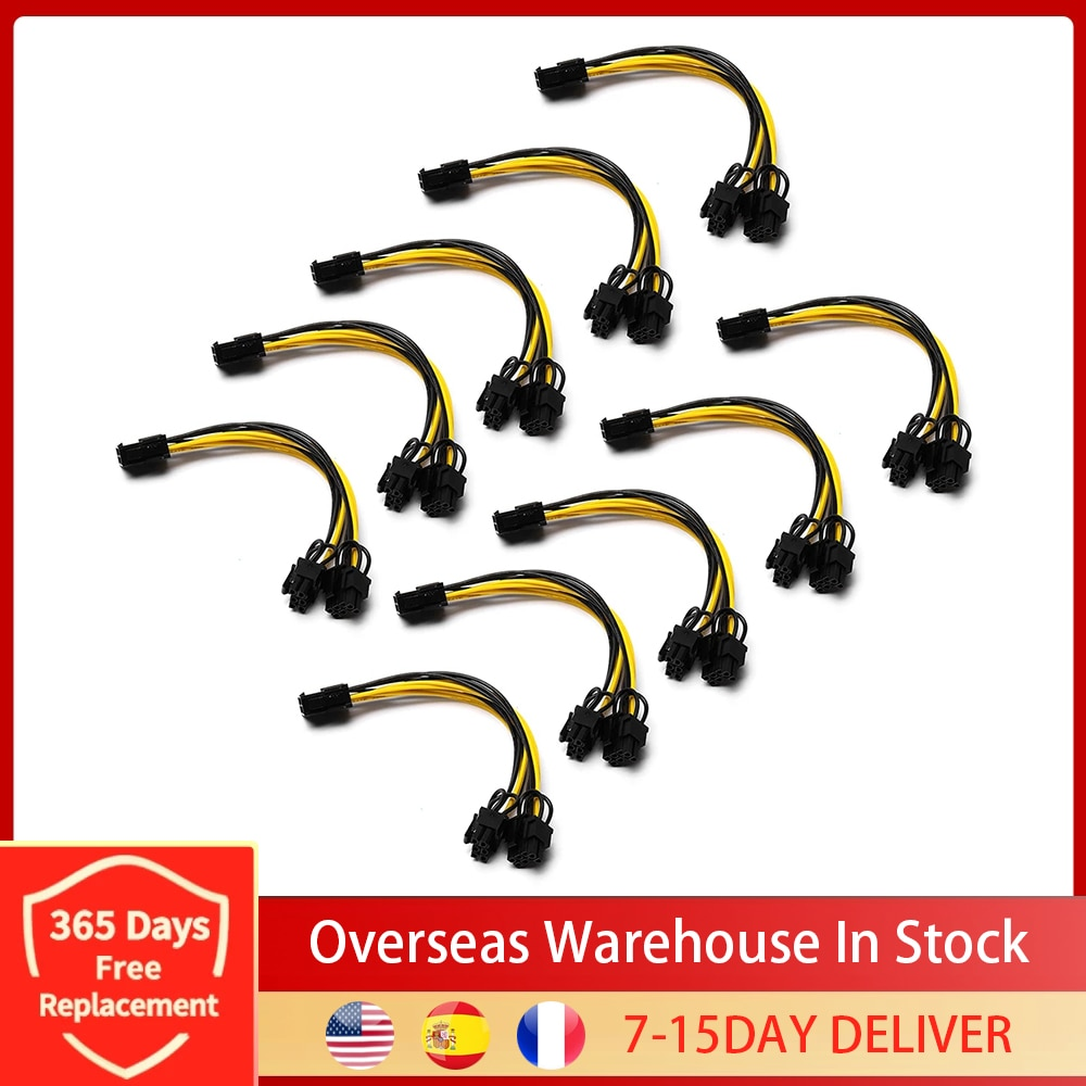 10Pcs 8 Pin PCI Express to Dual PCIE 8 (6+2) Pin Power Cable 20cm Motherboard Graphics Card PCI-E GPU Power Data Cable Splitter