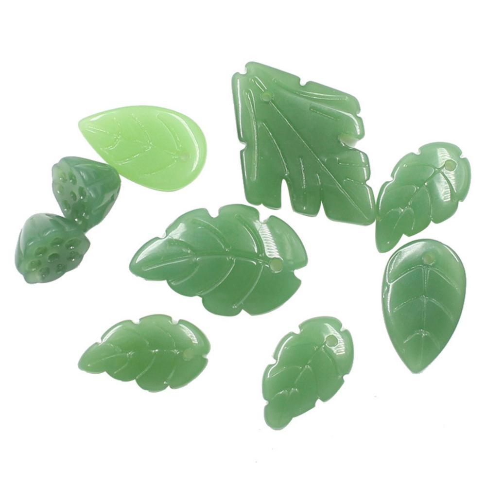 REGELIN 50 unids/lote imitación Jade árbol con hojas colgantes de hojas pequeño Metal pendiente de hoja horquilla DIY accesorios de joyería