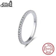 Anillo Plata de Ley 925 auténtica Effie Queen para hombre y mujer, anillo clásico de compromiso con circonita AAAA, anillos de pareja BR63