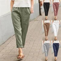 2021 fashion new women high street solid summer fashion solid cozy pant ladies sexy cotton and linen casual straight trousers