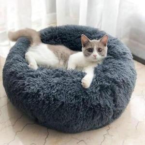 Круглая кровать для кошки, плюшевый коврик для собаки, мягкая длинная кровать для кошек, пушистая Удобная подушка, аксессуары для сна для до...
