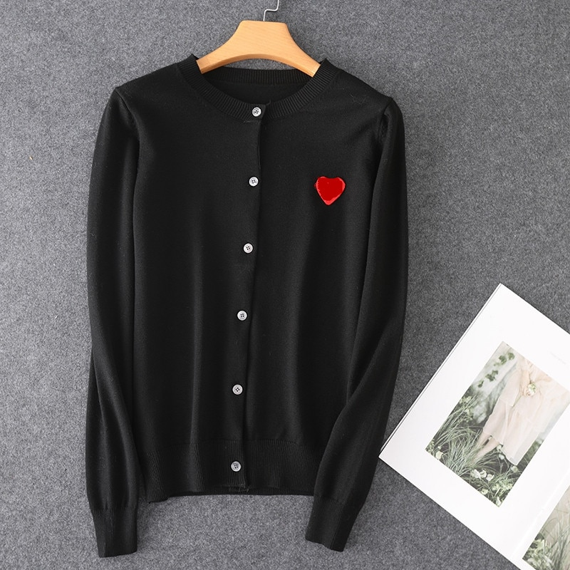 Fashion Couple Long Sleeve Cashmere sweater Cardigan Casual Embroidery Love-Heart Cashmere sweater Cardigan Casual For Man Women enlarge