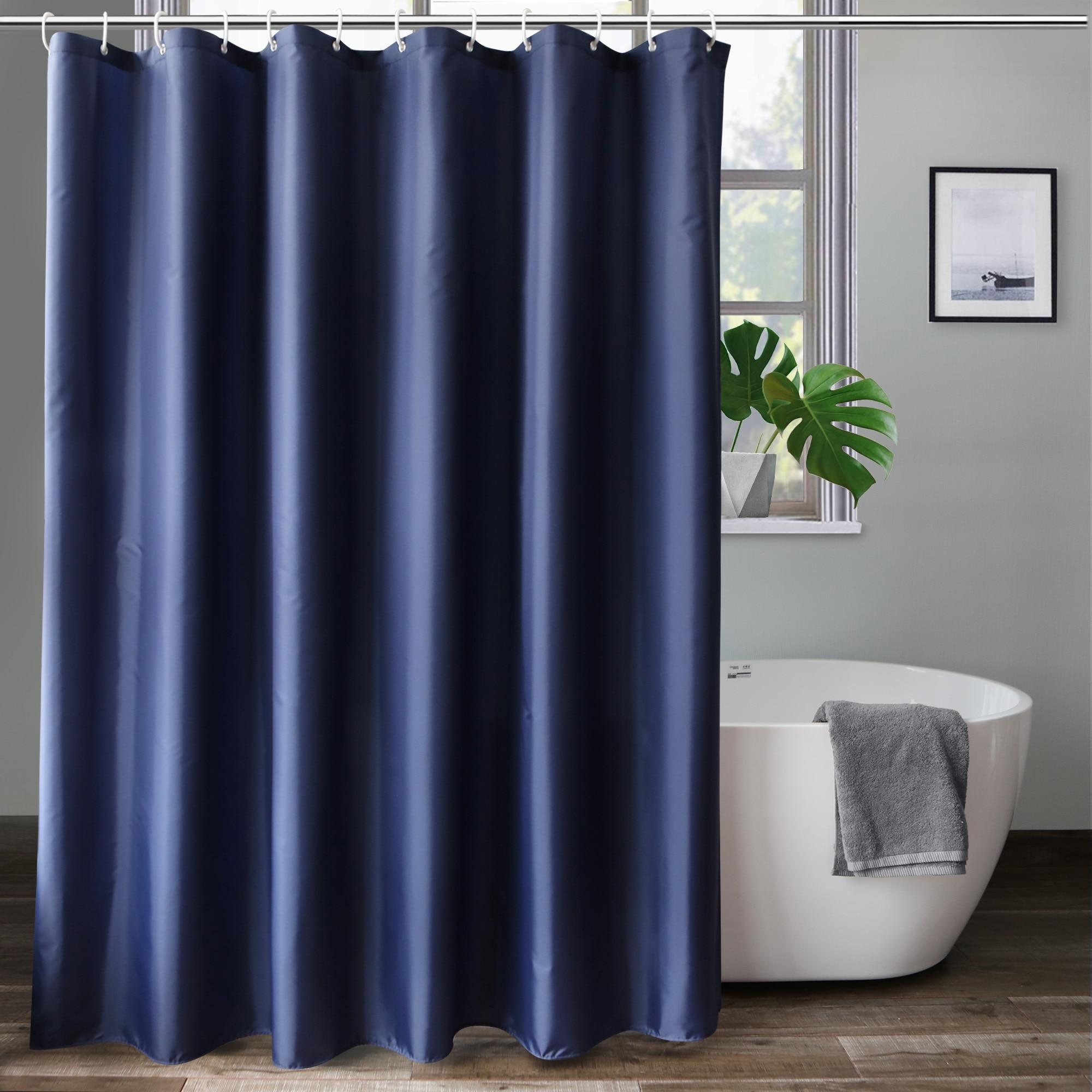Ufriday clássico azul marinho cortina de chuveiro durável tecido poliéster à prova dfabric água cor sólida banheiro cortina com ganchos estilo hotel