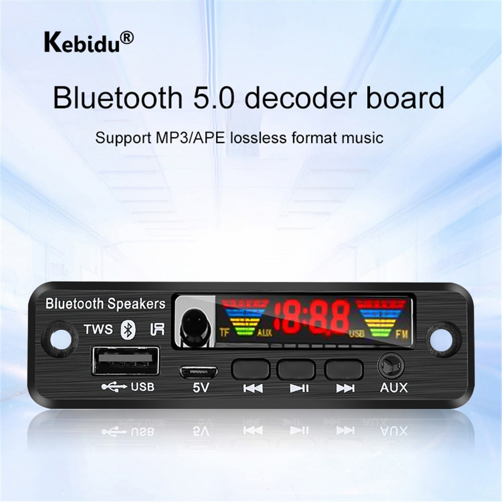 Handsfree 5V TWS Bluetooth 5.0 APE/MP3 Decoder Board Wireless FM Radio MP3 Player Support TF Card USB AUX Audio Decording Board
