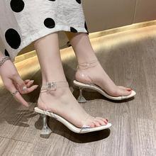 ¡Novedad de 2020! Sandalias transparentes de tacón alto para verano, sandalias femeninas de cuento de hadas, campo fino salvaje con zapatos abiertos.