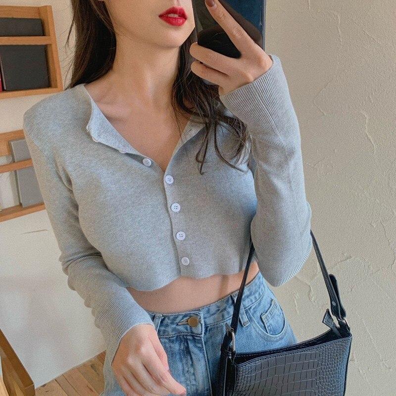 2021 NEWWomen Slimming Machine Short Tops Cardigan Spring Summer Long Sleeve Knitted Short Sleeve Tops 2020 New
