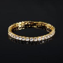 Bracelet glacé pour hommes Bracelet de Tennis en Zircon glacé accessoires bijoux Hip Hop fermoir boîte en cuivre lien de Bracelet CZ 18cm
