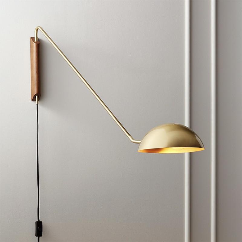 مصباح جداري على الطراز الاسكندنافي لغرفة النوم ، مصباح داخلي لغرفة المعيشة ، مصباح متأرجح طويل ، مصباح قراءة مثبت على الحائط