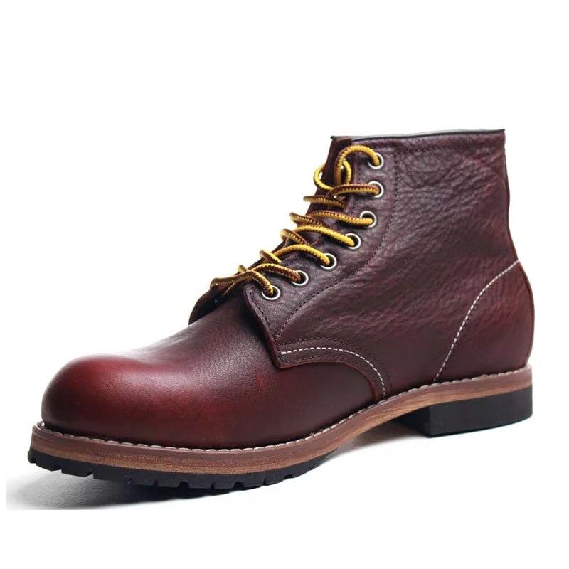Botas de Couro Genuíno do Dedo do pé Redondo dos Homens do Estilo Botas de Tornozelo Vintage Sapatos Casuais Moda