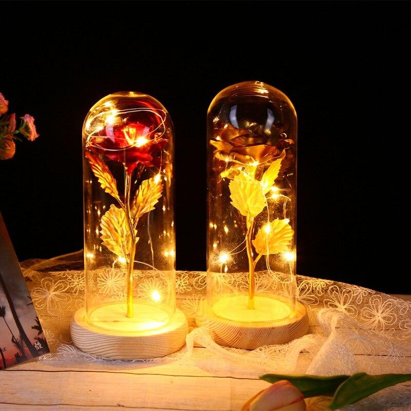 Envío Directo La Bella y La Bestia rosa roja en una cúpula de cristal con luz LED y Base para el día de la madre de San Valentín regalos con envío gratuito