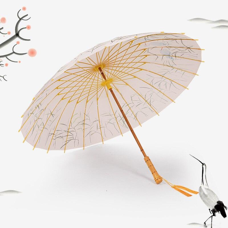 Impermeable retro chino paraguas de Sol de refuerzo automático paraguas arte femenino protector solar antiguo viento y lluvia doble uso