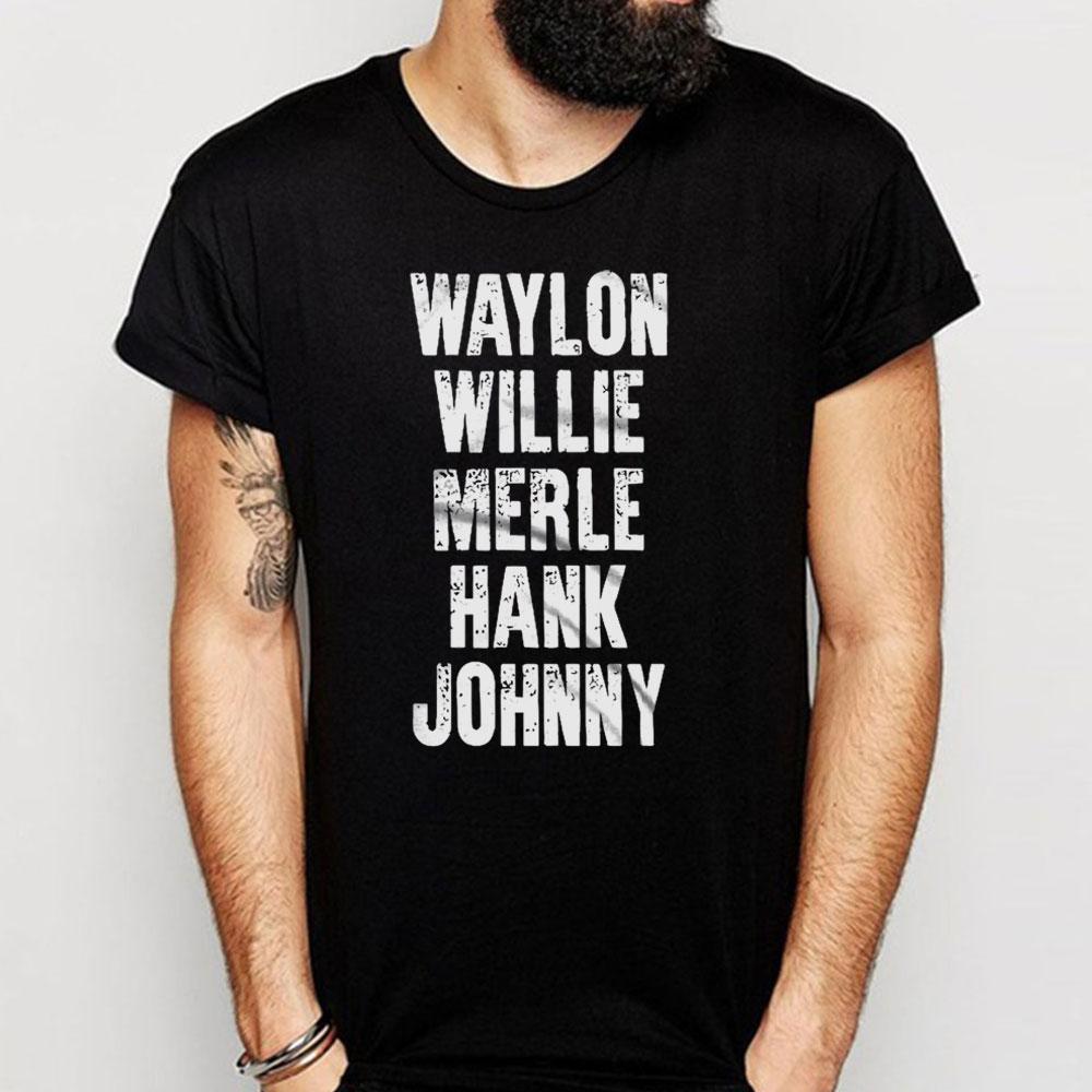 Camiseta del álbum de Waylon jenners, Willie Mandela, Merle Haggard, John efectivo, madeja del álbum para hombre