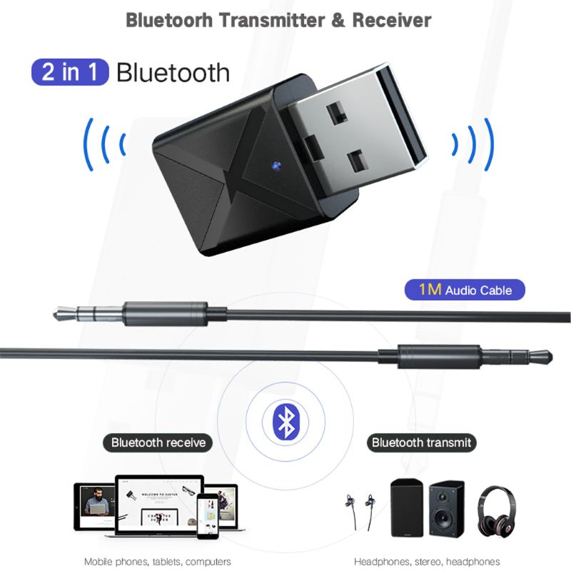 Bluetooth 5.0 2 in1 Audio Receiver Transmitter Wireless Adapter Mini 3.5mm Jack AUX Stereo Bluetooth Transmitter For PC TV Car
