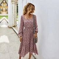 retro ladies square collar floral long dress autumn winter women 2021 new high waist full sleeve elegant chic dress