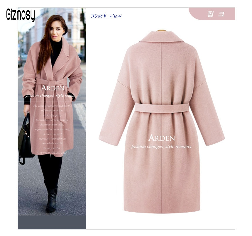 Nuevo abrigo de lana largo para mujer Otoño Invierno 2020 abrigo de tapeta holgada para mujer abrigo de lana grueso cálido abrigo de talla grande CA6518