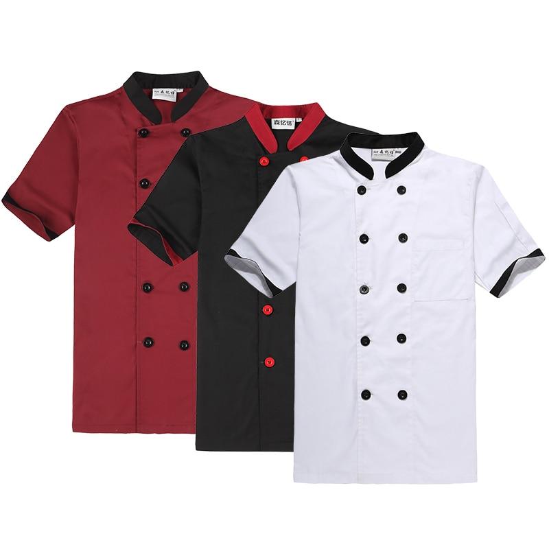 Униформа шеф-повара с коротким рукавом, униформа шеф-повара для отеля, ресторана, китайская одежда для мужчин, пальто шеф-повара