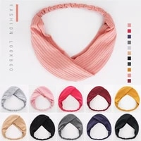 2020 new fashion solid color knotted headband korean womens wild cross stripe retro striped woolen hairband hair accessories