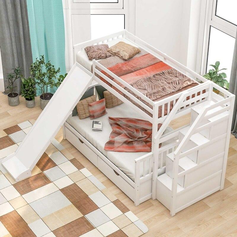 سرير بطابقين توأم على سرير بطابقين مع منزلق قابل للتحويل ودرج طالب سرير بطابقين أبيض للعائلة أو المدرسة