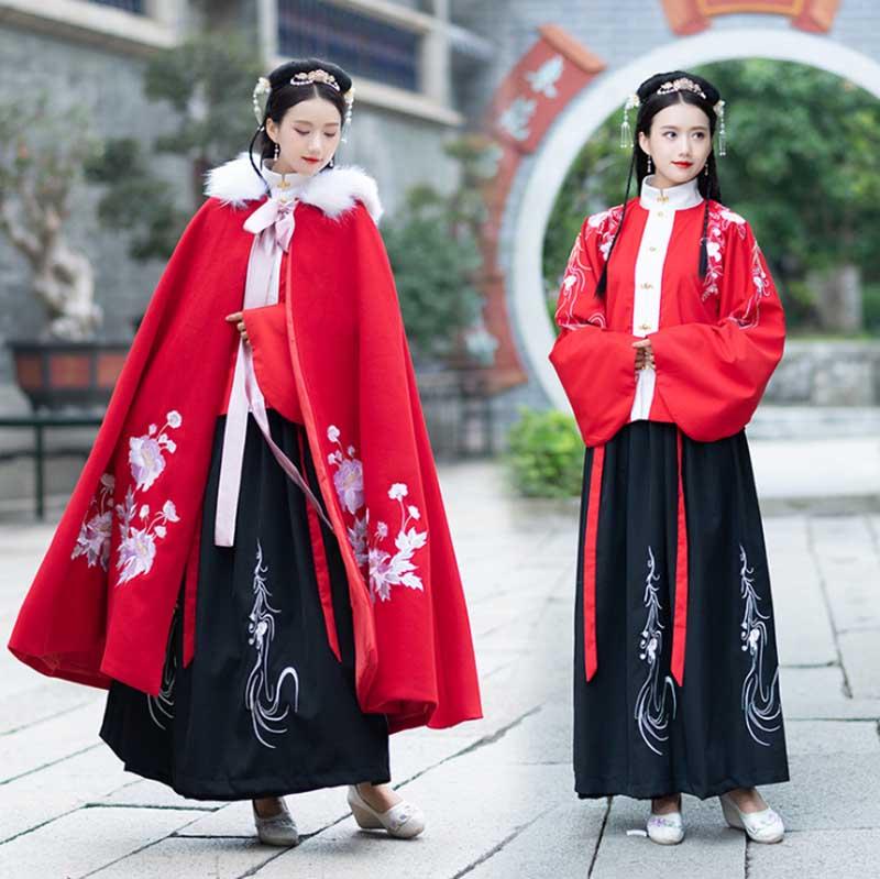 زي هانفو للشتاء الصيني التقليدي القديم للنساء ، رداء أحمر سميك بغطاء للرأس ، مجموعة Hanfu ، رأس السنة الجديدة للنساء ، مقاس كبير