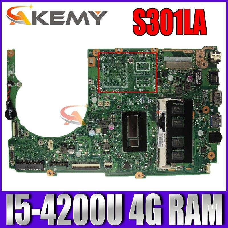Akemy S301LA اللوحة الأم لأجهزة الكمبيوتر المحمول ASUS S301LA S301L S301 Q301LA Q301L اختبار اللوحة الرئيسية الأصلية 4G RAM I5-4200U