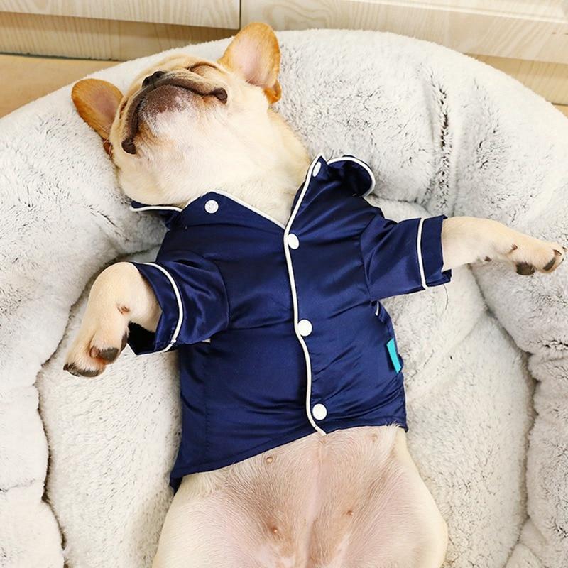 Zachte Zijde Franse Bulldog Pyjama Hond Pyjama Voor Kleine Honden Shih Tzu Puppy Cat Kleding Huisdieren Kleding Hond levert ·