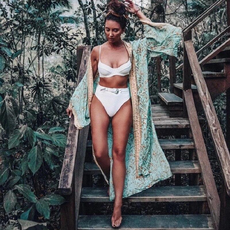 Boho femme couverture-Ups robe chemise décontracté imprimé fleuri caftan plage couvrir à manches longues Cardigan châle maillots de bain femmes été