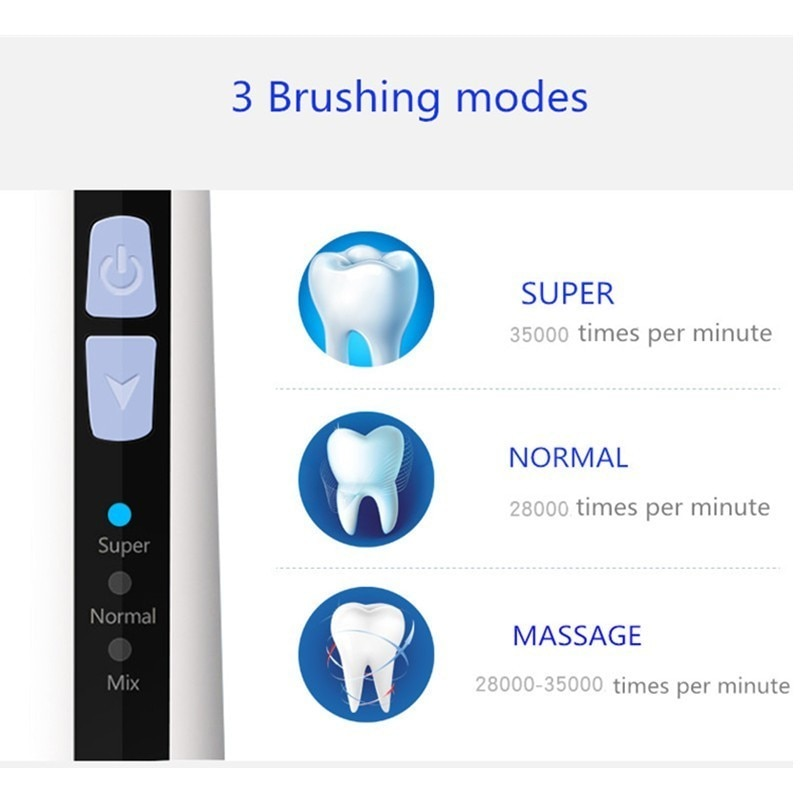 Ultrasonic Sonic Electric Toothbrush  Washable Rechargeable Tooth Brushes Timer Whitening Teeth Brush Adult Brush 3 Heads enlarge