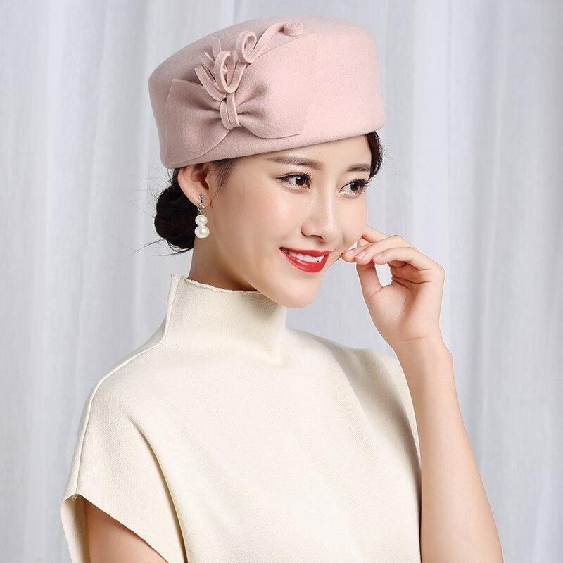 100% Wool Felt Berets Women Party Flower Formal Fedora Hat Banquet Grace Woolen Pillbox Cap Beautiful Fascinator