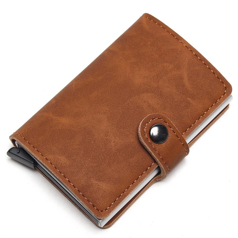 2021 Credit Card Holder Wallet Men Metal RFID Vintage Aluminium Crazy Horse Leather Bank Cardholder