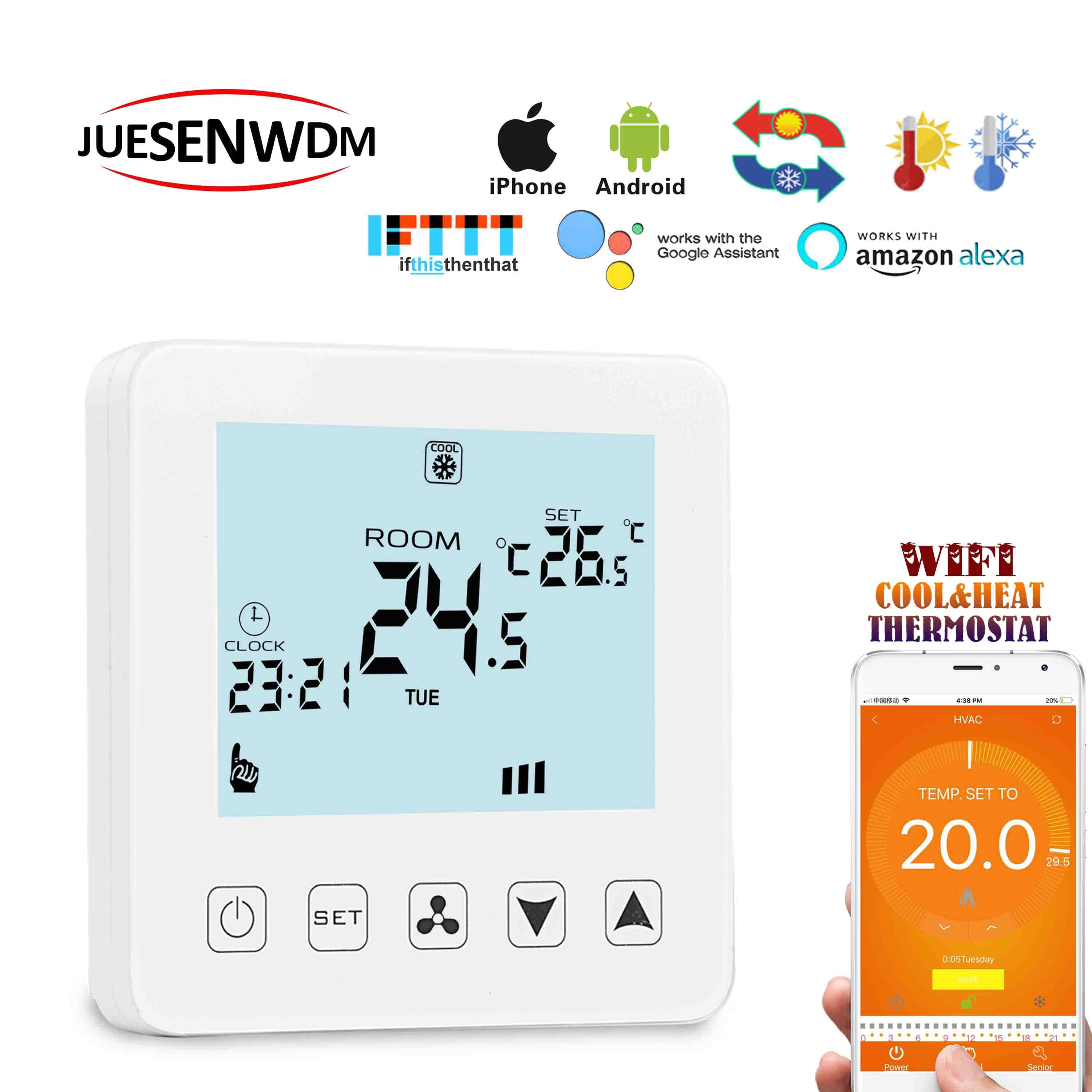 Cooling heating  fan coil degree thermostat WIFI google home with fan control by temperature