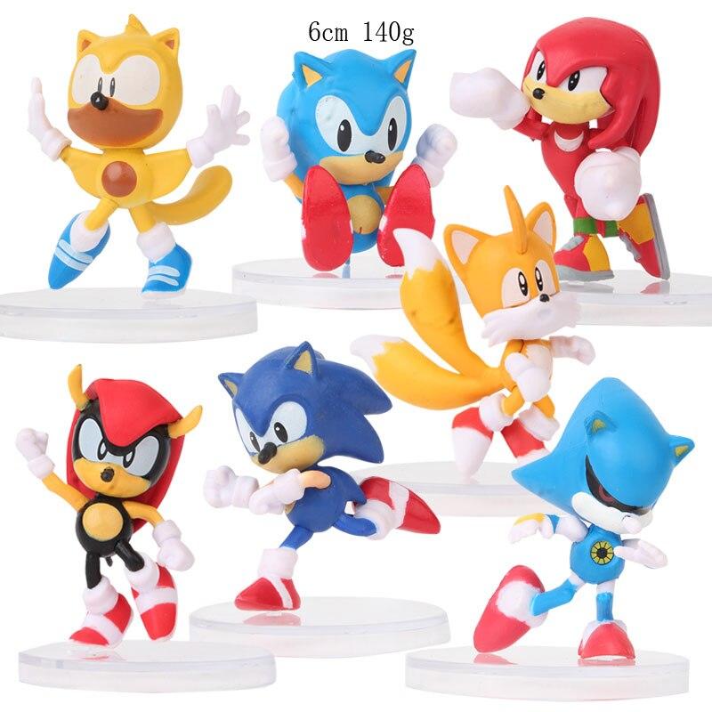 7 unids/set figuras sónicas de juguete de Pvc colas de sombra sónicas personajes figuras juguetes para niños animales juguetes Set envío gratis