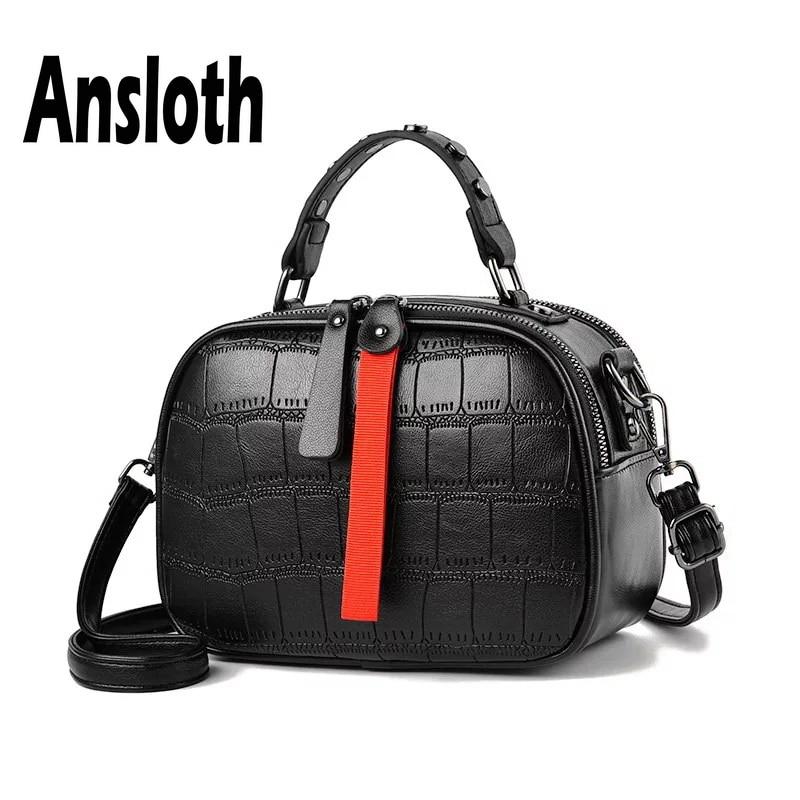Ansloth Crocodile Pattern Shoulder Bag Women Rivet Handbag Lady Hit Color Crossbody Bag Quilted Hand Bag Female Mini Bag HPS638