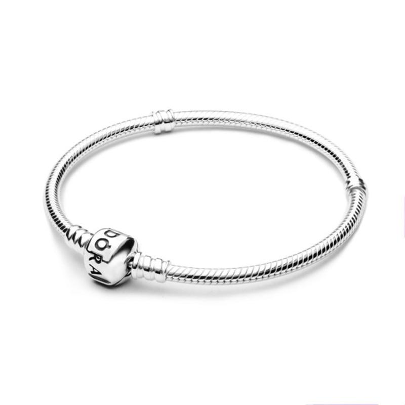 Encantos femininos pulseira caber pandora pulseras contas para fazer jóias diy base cobra corrente pulseira presente