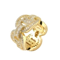 new hip hop men cuban chain ring gold plated micro pave cubic zirconia men charm jewelry gift