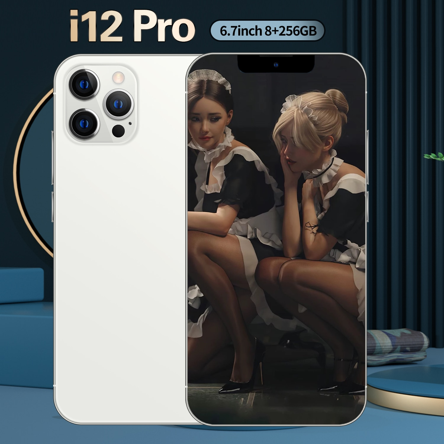 I12 Pro 5G 6.7'' 6800mAh Big Battery 10 Core 8+256GB 16+32MP Dual Card Android10.0 Face ID Global Ve