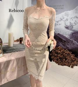 Весеннее женское кружевное лоскутное бежевое платье-карандаш с круглым вырезом, облегающие Сексуальные вечерние платья в винтажном стиле