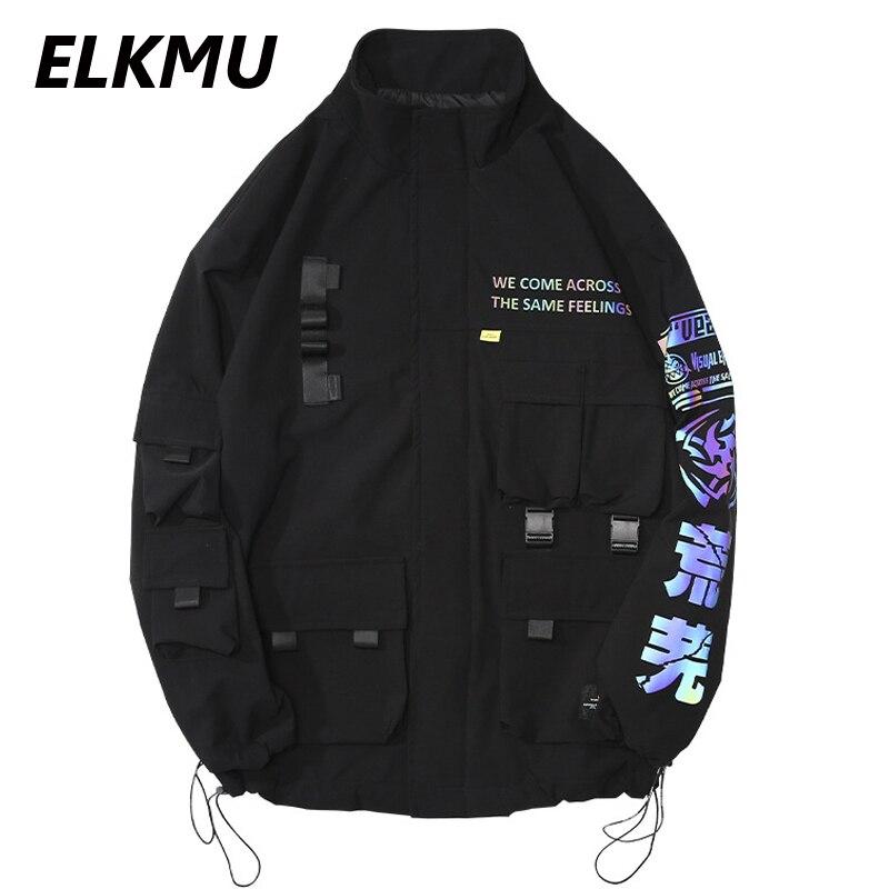 ELKMU-سترة كارغو سوداء للرجال ، سترة واقية عاكسة ، Harajuku ، أزياء غير رسمية ، فضفاضة ، ملابس خارجية ، HE457