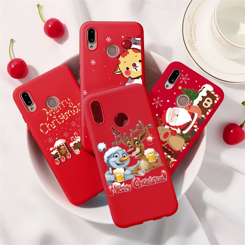 Рождественский чехол с животными для Huawei Y5 Y6 Y7 Y9 2018 2019 Honor 8A 8X 9X 7A 7X 7S 9 10 20 Lite Pro 10i 20i Play TPU красный матовый чехол