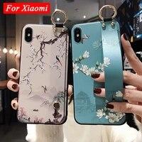 Custodia per cinturino da polso in rilievo 3D per Redmi Note 10 9 9S 8 Pro 7 5 Cover per telefono con fiore per Xiaomi Mi 9 8 9T A1 A2 A3 Lite Poco X3