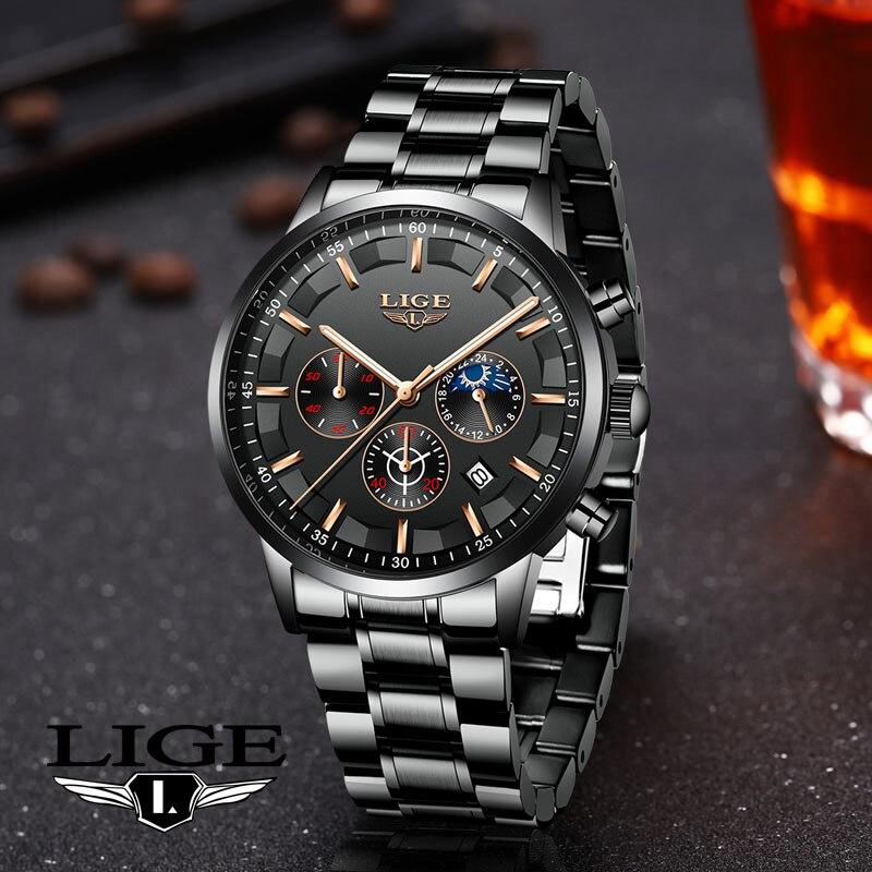 2020 New LIGE Top Original Men Watches Fashion 30m Waterproof Watch for Men Multifunctional Chronograph Sport Watch Luminous+Box