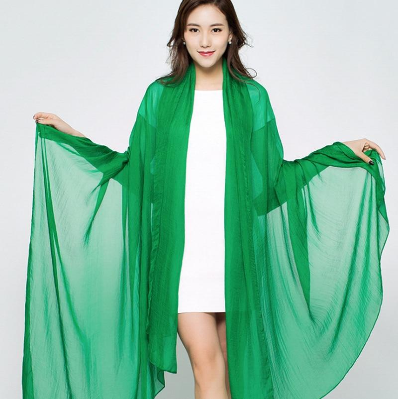 Oversize 150*230cm Long Satin Silk Scarf Summer Ladies Green Scarf Shawl Top Grade Brand Scarves Simple Plain Chiffon Head Scarf