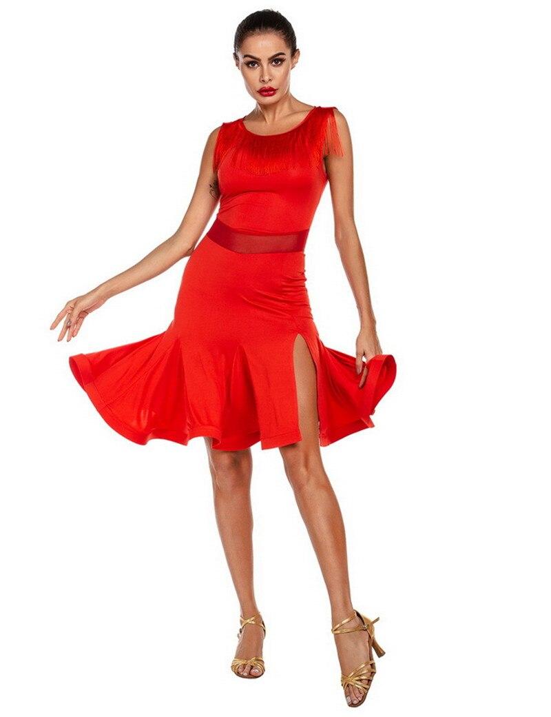 2020 Новая женская Красного/черного цвета латинское платье для танцев XS-XL взрослых бальных танцев юбка большого размера высокое качество тан...