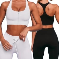 women gym set feamle seamless 2pcs two piece crop top zipper bra drawstring leggings sportsuit workout outfit sport wear clothes