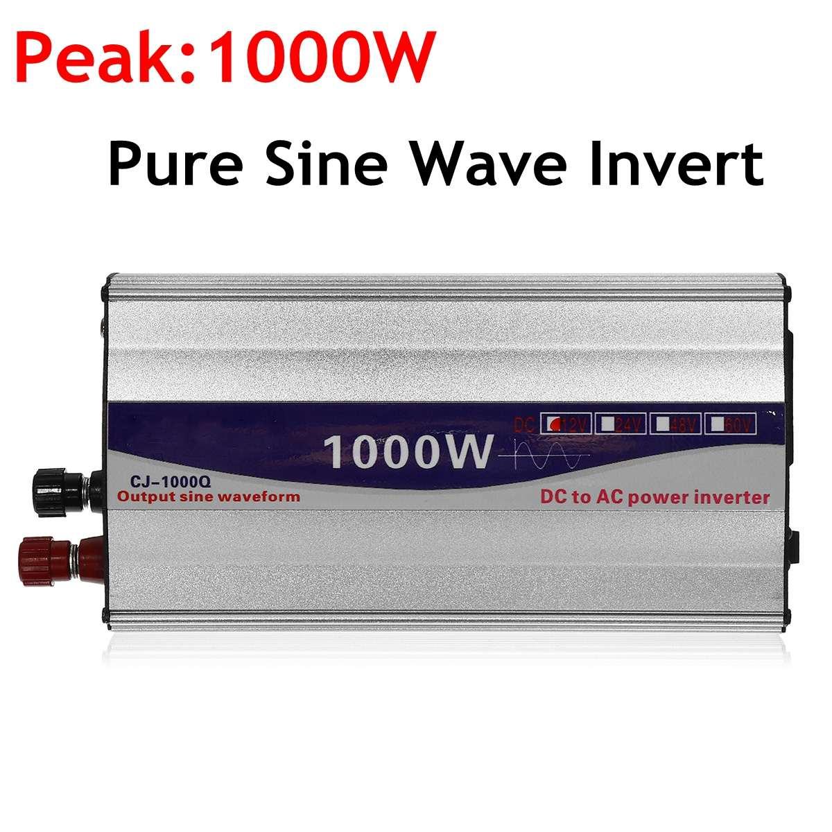 1 مجموعة LED عرض 1000W نقي شرط موجة عاكس الطاقة 12 V/24 V إلى 110V تحويل محطة تزويد محولة للطاقة