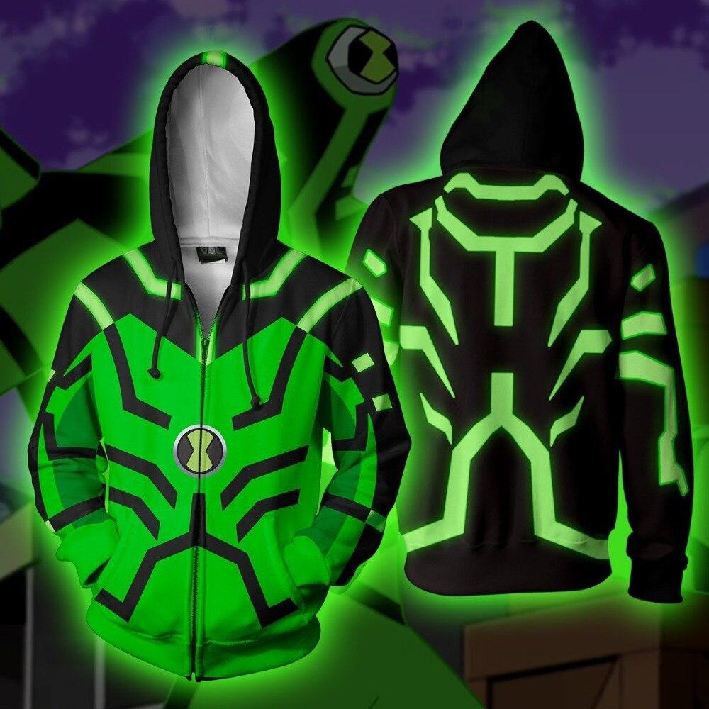 Ben 10 Costumes Ben Tennyson Upgrade Cosplay 3D Printed Hoodies Sweatshirt Cardigan Sweater Cartoon Women men hooded Jackets