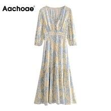 Aachoae Women Floral Print Dress V Neck Lantern Sleeve Vintage Long Dress Female Elastic Waist Holiday Pleated Dress Sundress