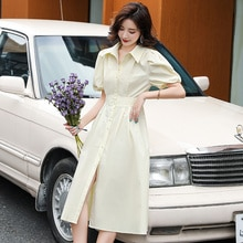 New Polo Collar Shirt Dress Mid-Length Loose Slimming Big Pocket Dress Comfortable, Casual and Versa
