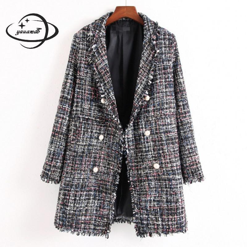 Abrigos de lana de Invierno para mujer, chaquetas de mezcla para mujer, ropa con cuello vuelto, estilo largo ajustada a cuadros, ropa de abrigo para mujer h88