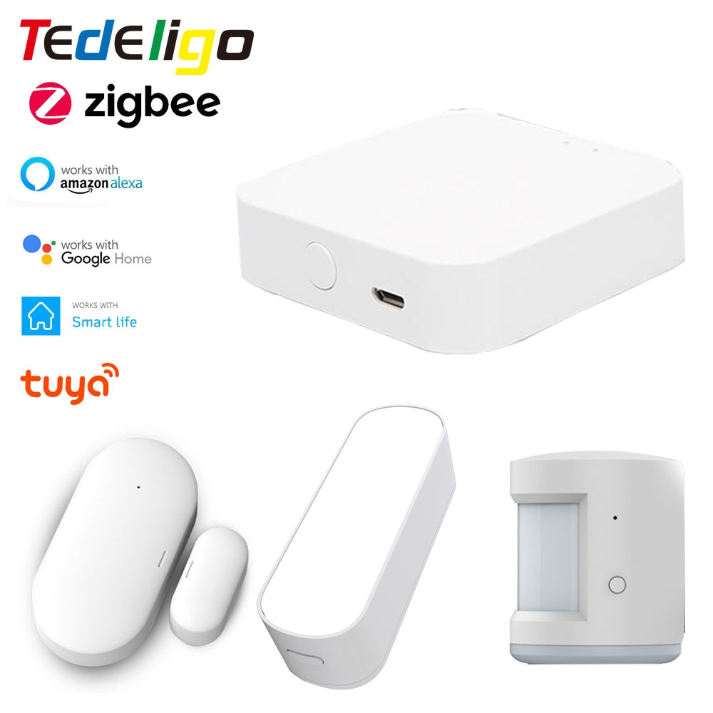 Tuya Smart Life ZigBee Gateway Hub PIR Light/ Door Window Sensor for Building Automated Smart Home Work With Alexa Google Home